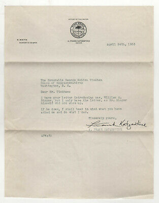 1933 MIAMI BEACH MAYOR A Frank Katzentine TLS Letter SIGNED Florida TINKHAM