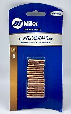 """NEW Miller .035"""" MIG Contact Tips for all M-Series Guns 000068 x10/pk SHIPS FREE"""