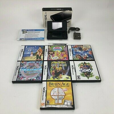 Nintendo DS Lite Handheld Console in Box With 7 Games  - Onyx Black-Tested