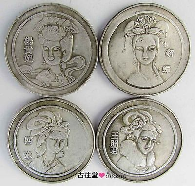 4pcs Chinese old Tibetan silver copper coin set Carved four beauties Statues