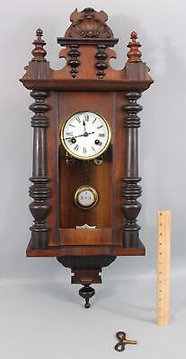 Antique Late 19thC JUNGHANS German Wall Clock Walnut Case Pendulum & Key