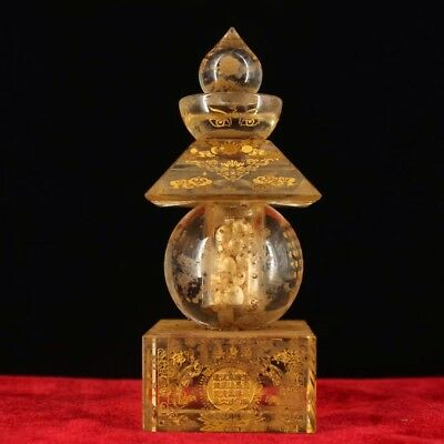 Chinese Antique Buddhist crystal hand-Carved scripture stupa