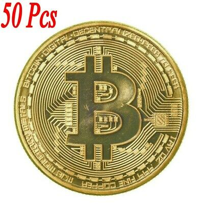 50Pcs Gold Bitcoin Commemorative Round Collectors Bit Coin Gold Plated Coins RX
