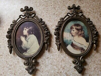 "Set of 4 Small Vintage Oval Ornate Metal Frame Pictures Made in Italy 6.5"" x 4"""