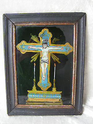 Antique Hinterglasbild Christus Am Kreuz Altar Gerahmt