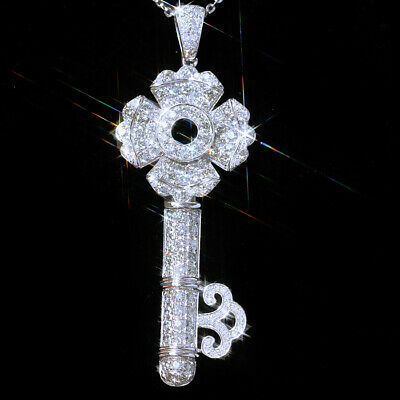 2Ct 100% Natural Diamond 14K White Gold Cluster Key Necklace EFFECT 4Ct PWG119-2