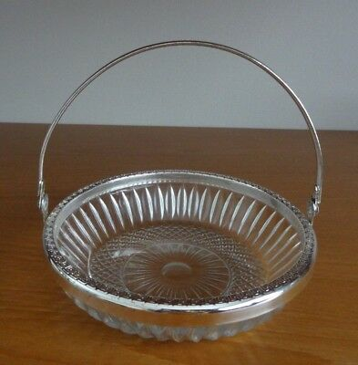 Clear Patterned Glass Sweets/Bonbon 6 inch Bowl with Silver Metal Lip & Handle