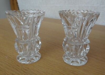 Pair of Clear Bright Patterned Glass Rose or Small Flower / Stem Vases