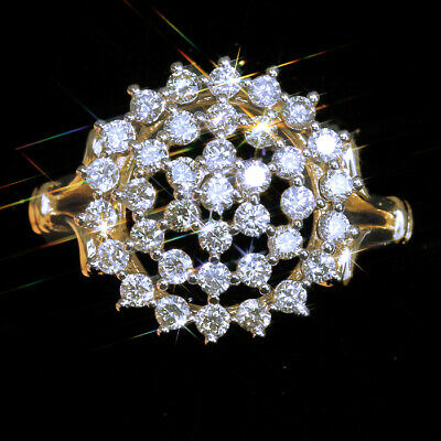 1Ct 100%Natural Diamond 10K Yellow Gold Vintage Cluster Ring EFFECT 2Ct RWG164-4