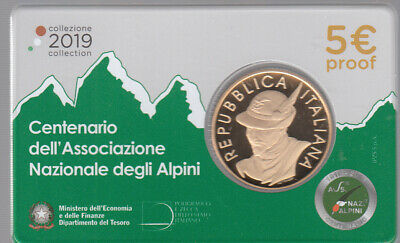 5 EURO PROOF COMMEMORATIVO ITALIA 2019 F.S. 100° Associazione ALPINI in Folder