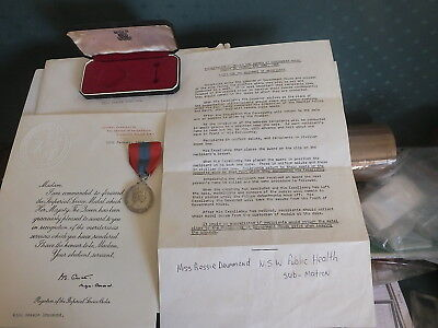 Imperial Service Medal To Bessie Drummond Nsw Public Health With Documents