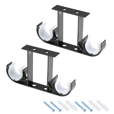 Curtain Rod Bracket Double  for 26-29mm Drapery Rod, 140 x 80 x 19mm Black 2 Pcs