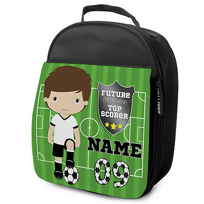 Personalised FOOTBALL Lunch Bag Boys Childrens School Nursery Box KF01