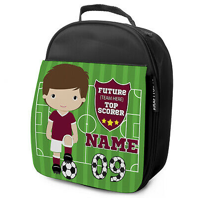Personalised FOOTBALL Lunch Bag Boys Children School Nursery Box - ANY TEAM KF07