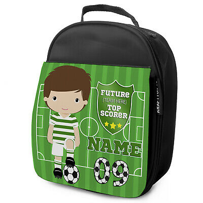 Personalised FOOTBALL Lunch Bag Boys Children School Nursery Box - ANY TEAM KF09
