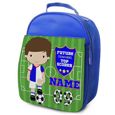 Personalised FOOTBALL Lunch Bag Boys Children School Nursery Box - ANY TEAM KF05