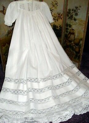 Pretty Vintage Cotton Christening Gown ,Great For Baby,Doll Or Bear?