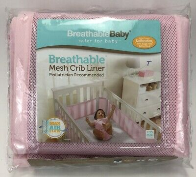 Breathable Baby Solid Mesh Crib Liner Pink breathable mesh