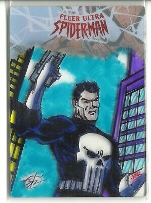 2017 Fleer Ultra Spider-Man Plexi Glass Sketch Card Punisher 1/1 Arturo Romero