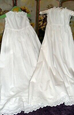 Two Pretty Vintage Cotton Christening Petticoats ,Great For Baby,Doll Or Bear?