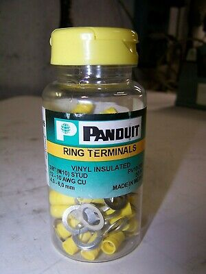 """50) New Panduit Vinyl Insulated Ring Terminals 3/8"""" Stud 12-10 Awg Cu Pv10-38R-L"""