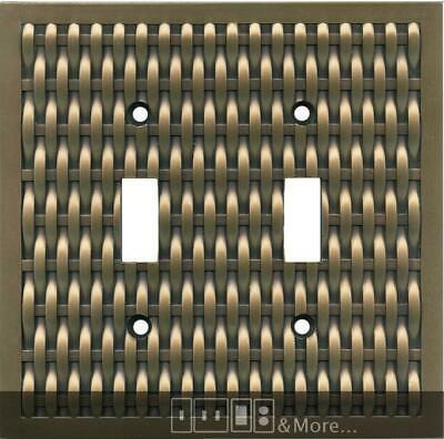 Basketweave Antique Brass Switch Plates, Wall Plates & Outlet Covers