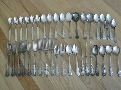 Vtg Silverplate Spoons Forks Fancy Ornate Flowers For Arts & Crafts Lot 40 Pc