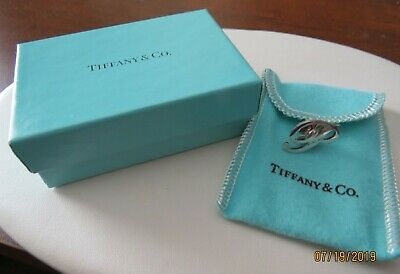 Vintage Tiffany & Co Sterling Silver Initial P Lapel Pin Tie Tac W/Box & Pouch