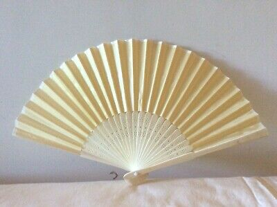 Faux Silk Wood Hand Fan Gold Regency, Victorian, wedding, costume