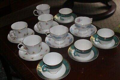 Vintage/Antique Mismatched Bone China 9 Cups & Saucers Staffordshire Oakley+ Vgc