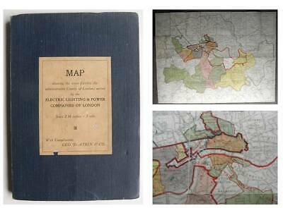 c1920 STREET MAP of LONDON Showing the Electricity Lighting & Power Companies
