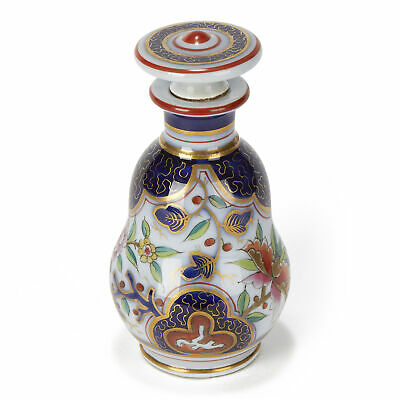 French Antique Porcelain Imari Design Scent Bottle 19Th C.