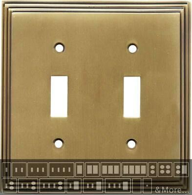 Art Deco Step Antique Brass  Switch Plates, Wall Plates & Outlet Covers