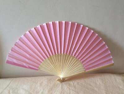 Pale Pink Faux Silk Wood Hand Fan Regency, Victorian, wedding, costume