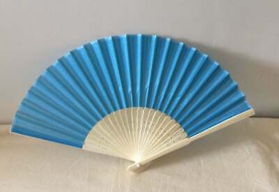 Faux Silk Wood Hand Fan Mid Blue Regency, Victorian, wedding, costume