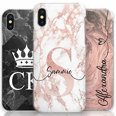 Personalised Pink Marble Phone Case, Hard Cover Customised With Initials/Name
