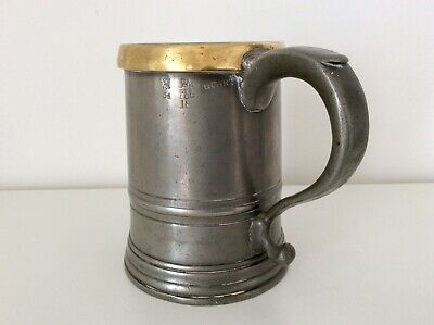 "Victorian QUART Pewter Tankard with Brass Rim ""Rimmer"" LCC London Marks C1890"