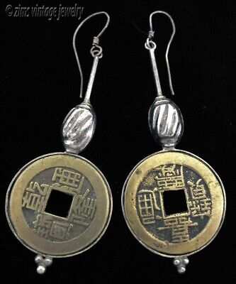 Vintage Antique bronze CHINESE COIN Sterling silver wire Long dangle EARRINGS