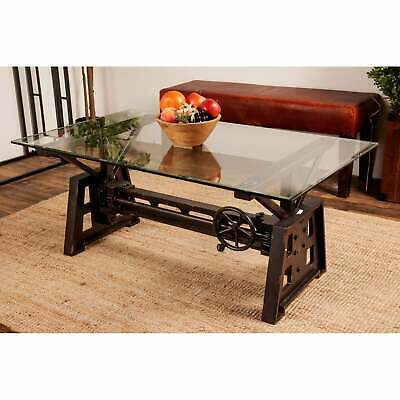 Industrial 20 x 47 Inch Gray Mechanical Coffee Table Red