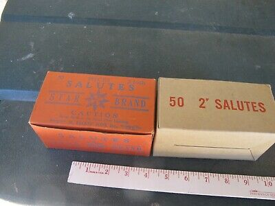Fireworks Firecracker Old vintage 2 Boxes Star 2 in Salute + Generic sample labl