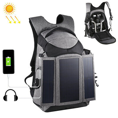 Large DSLR Outdoor Camera Backpack Shoulder Bag with Solar Panel F Travel I8U2