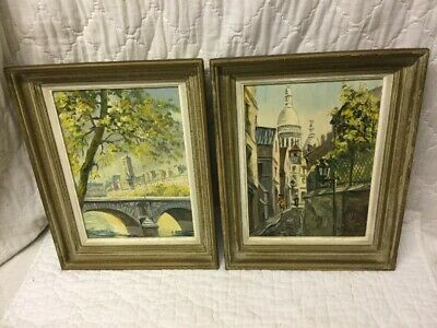 2 Best Vintage Andre Franchet Oil Paintings Paris Cityscape in Original Frames