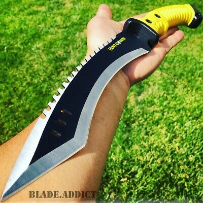 "15.5"" KUKRI HUNTING SURVIVAL FIXED BLADE MACHETE TACTICAL Rambo Knife Sword -F"