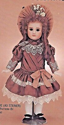 "9-10""Antique A9 Steiner German/Bleuette Milette Doll Dress Hat Pattern French"