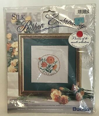 Bucilla Flower of the Month Silk Ribbon Embroidery Kit October Vintage Marigold