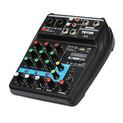 TU04 BT Sound Mixing Console Record 48V 4 Channel Stage Audio Mixer X6S9