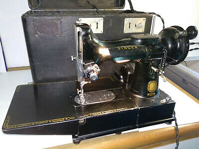 RAREST portable vintage electric SINGER sewing machine 222K featherweight works!