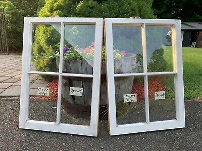 2 - 19 x 27 Matching Vintage Window sash old 4 pane from 1960s Arts & Crafts