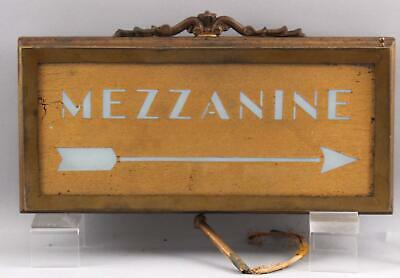 Antique 1920s Architectural Gilt Brass MEZZANINE Theater Electric Sign Light NR