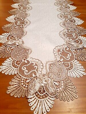 Rectangle 35*180cm Two-Toned Mushroom/White Lace Polyester TableRunner